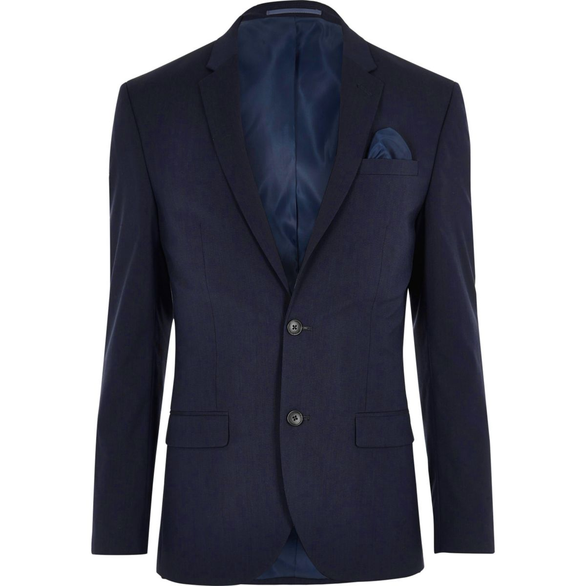 Dark blue stretch slim fit suit jacket - Suit Jackets - Suits - men