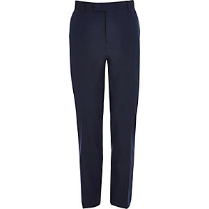Dark blue slim fit suit trousers