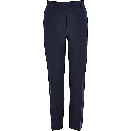 Dark blue stretch slim fit suit pants