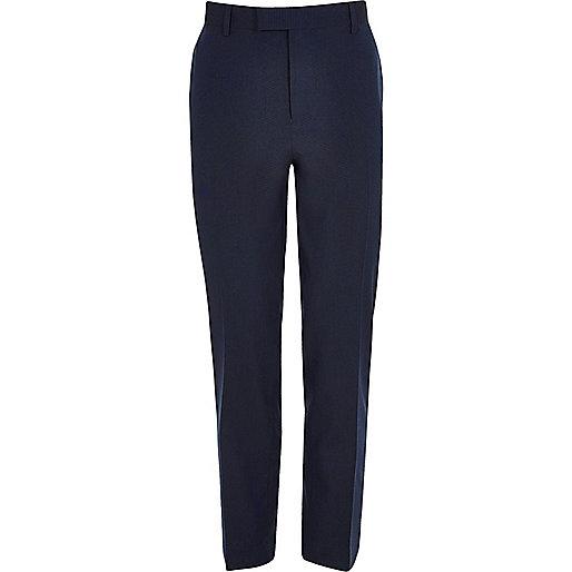 Dark blue slim fit suit pants
