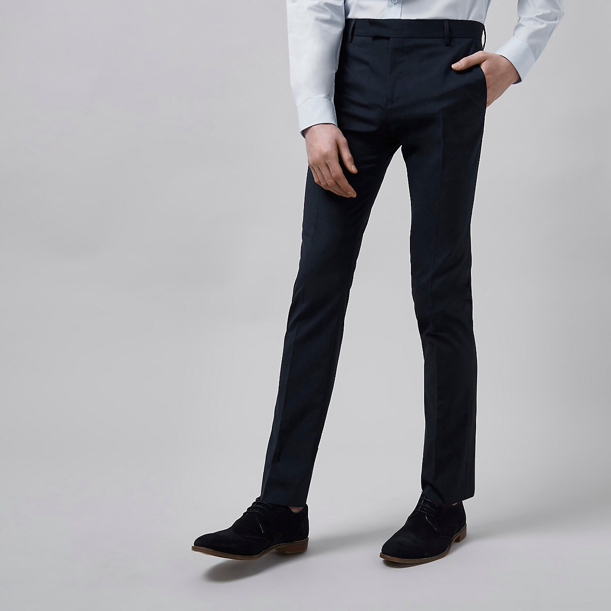 Dark blue skinny fit suit trousers
