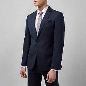 Navy tailored fit suit jacket