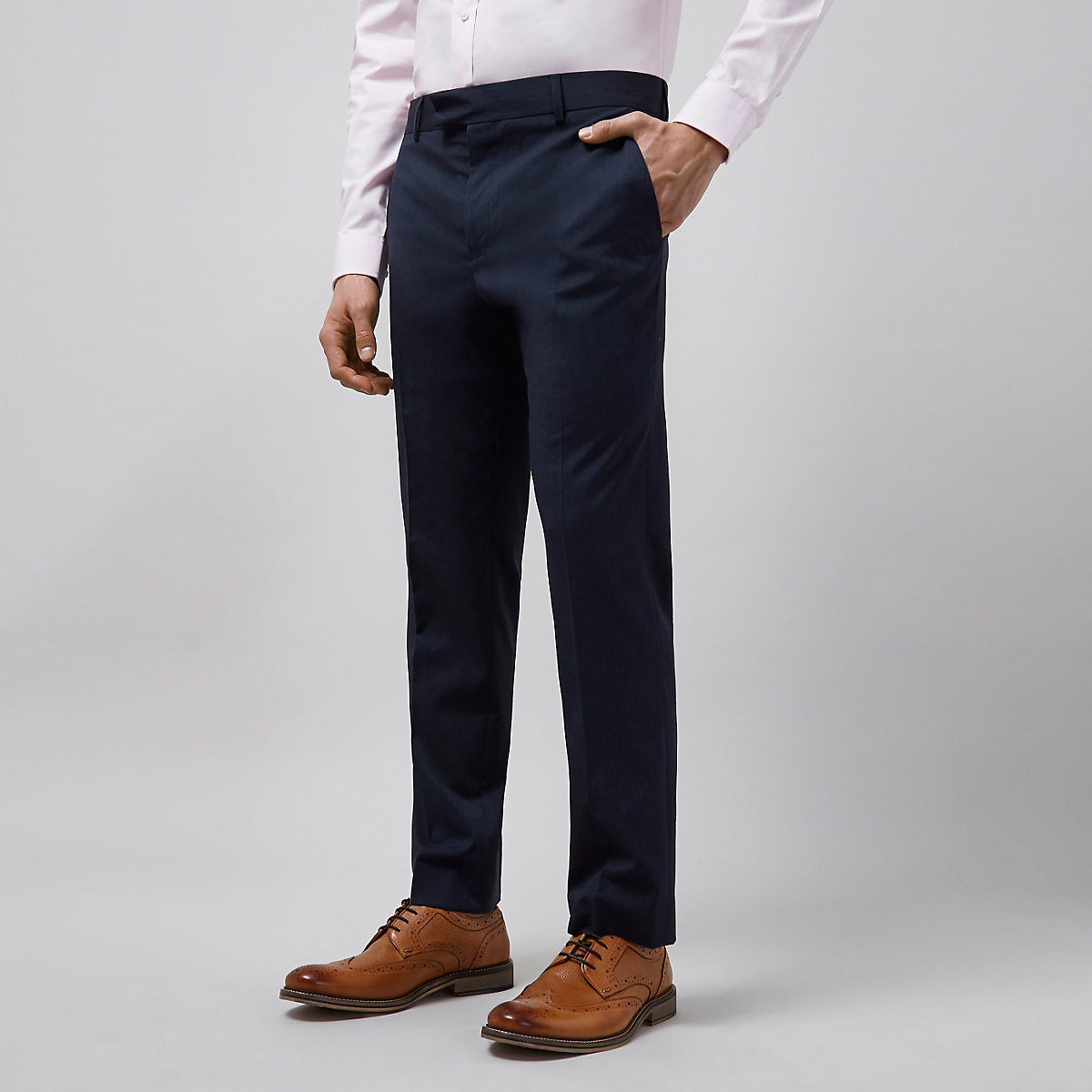 Navy tailored fit suit trousers