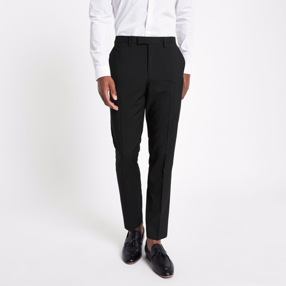 Black slim fit suit pants