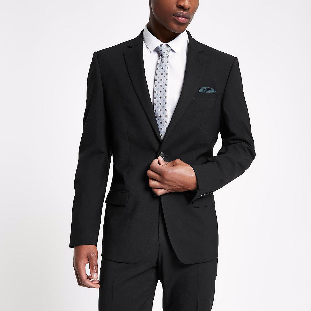 Black tailored fit suit jacket