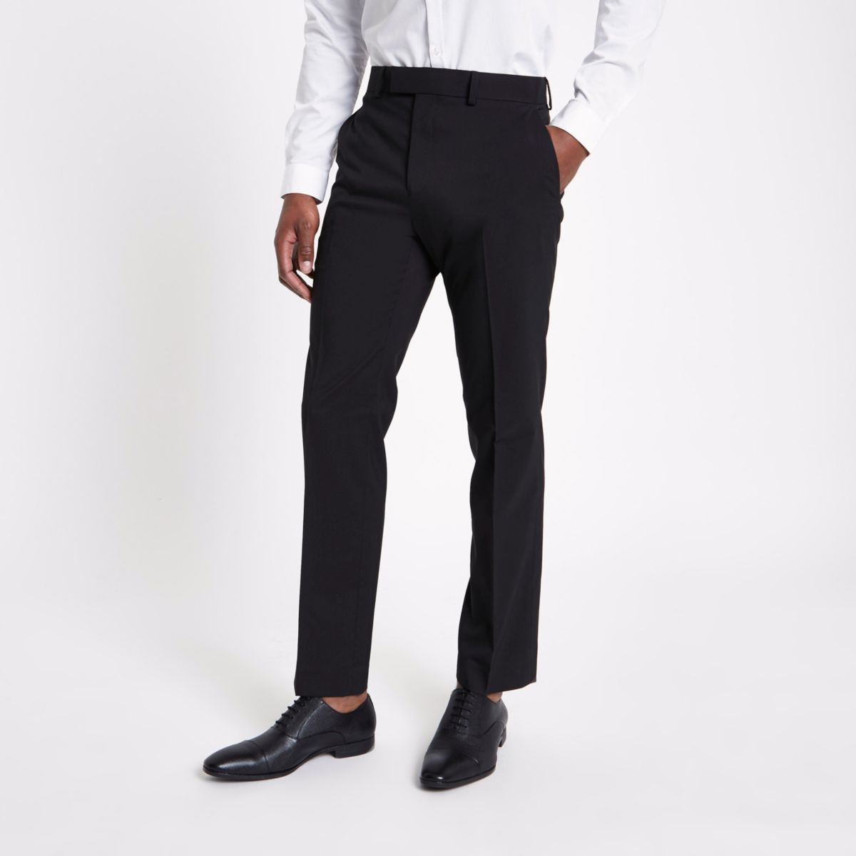 Black tailored fit suit pants