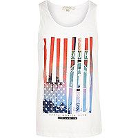 White American flag print tank