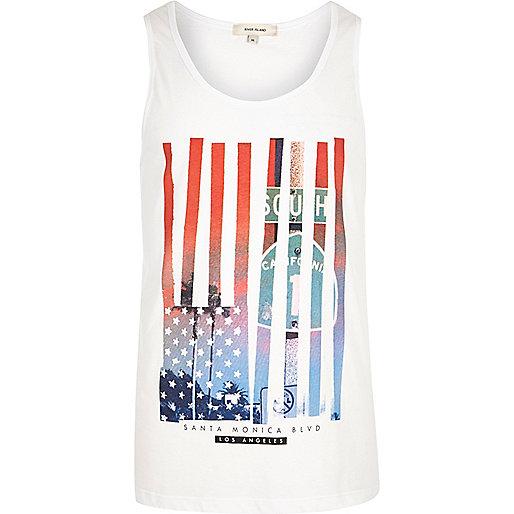 Débardeur imprimé drapeau américain blanc