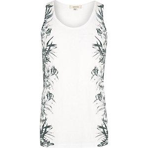 White floral side print tank
