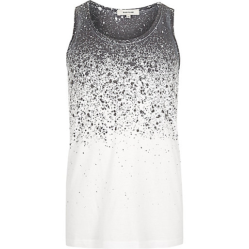 White splatter fade print tank