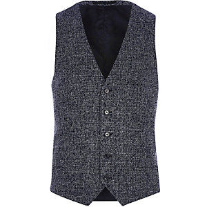 Navy blue textured vest