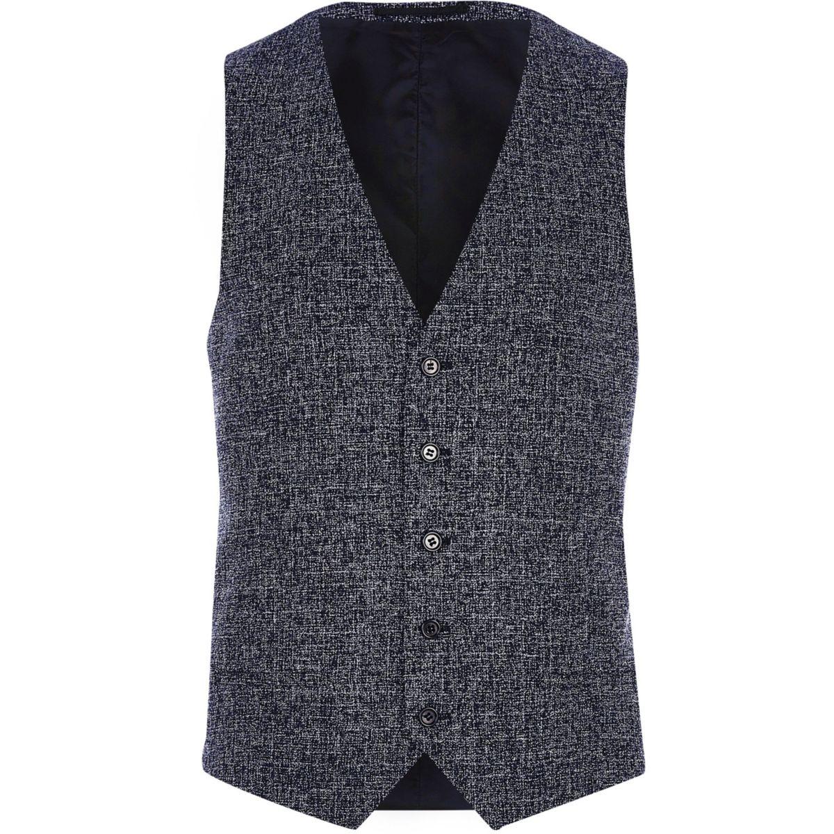Navy blue textured vest