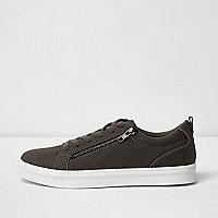 Graue Sneaker zum Schnüren mit Reißverschluss
