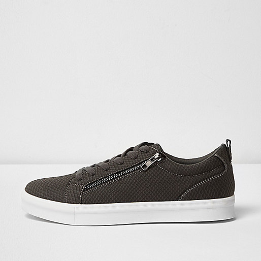Grey lace up sneaker with zip detail