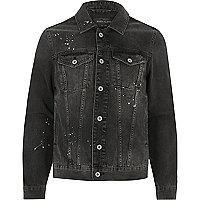 Charcoal grey paint splatter denim jacket