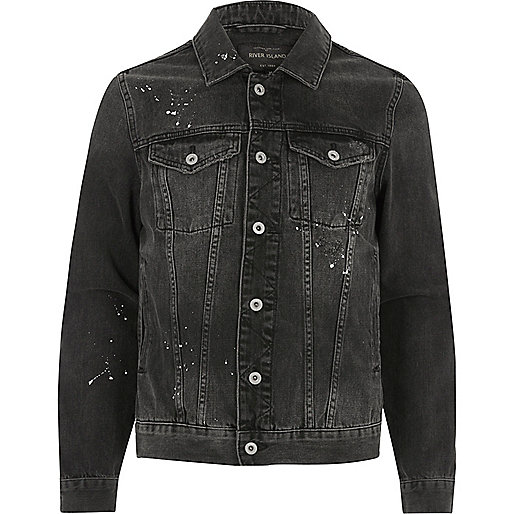 Charcoal grey paint splatter denim jacket