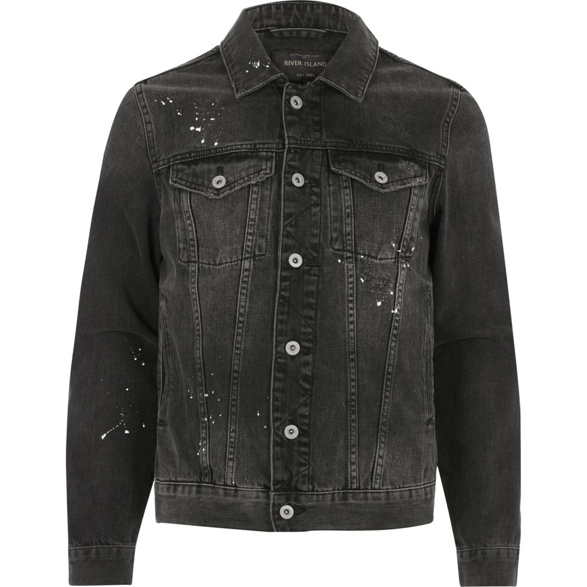 Charcoal grey paint splatter denim jacket - Coats & Jackets - Sale ...