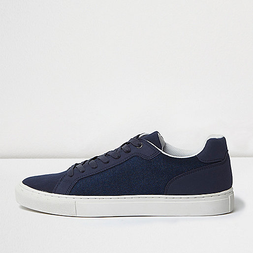 Navy blue lace-up trainers