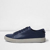 Navy blue perforated trainers