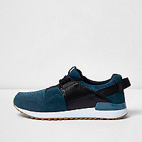 Blue contrast textured trainers