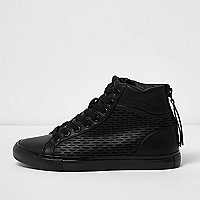 Black heel zip hi top trainers