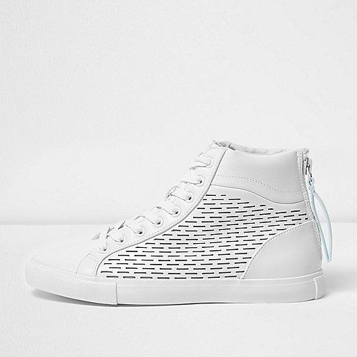 White zip heel hi top sneakers