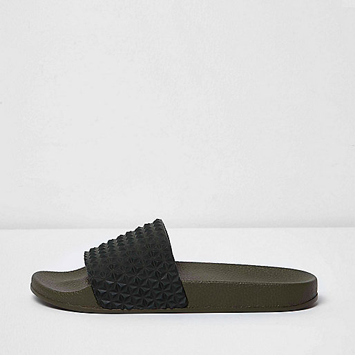 Khaki green textured sliders