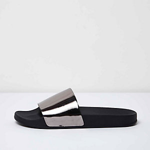 Black metallic silver sliders