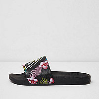 Black floral print sliders