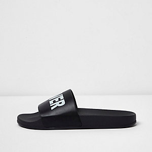 Black take cover print sliders
