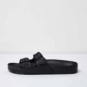 Black double strap slip on sandals