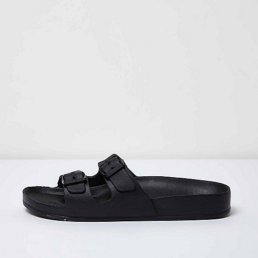 Black double strap slip on sandals