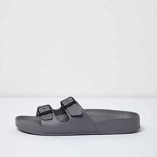 Grey double strap slip on sandals
