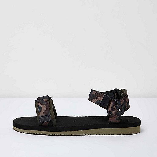 Black camo print hike sandals