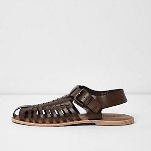 Sandales à lanières en cuir marron foncé