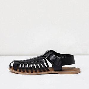 Black leather fisherman sandals