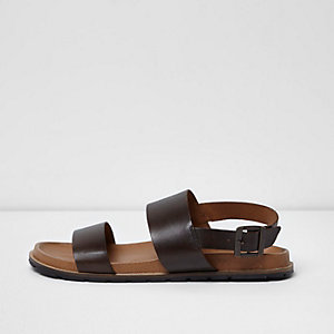 Dark brown leather double strap sandals