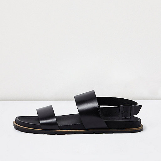 Black leather double strap sandals