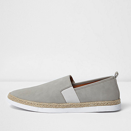 Light grey nubuck espadrille plimsolls