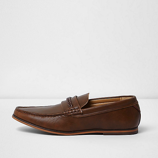 Brown braid loafers