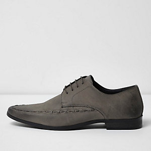 Grey leather smart lace-up shoes