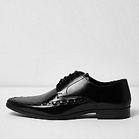 Black leather stitched lace-up shoes