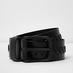 Black leather whipstitch belt