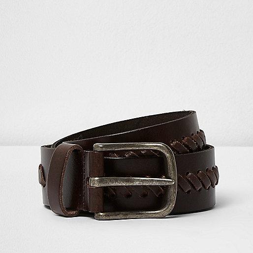 Dark brown leather whipstitch belt