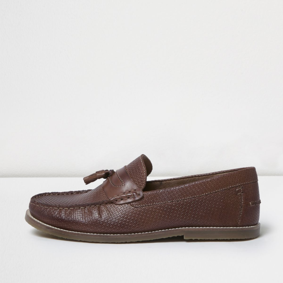 Brown embossed leather loafers