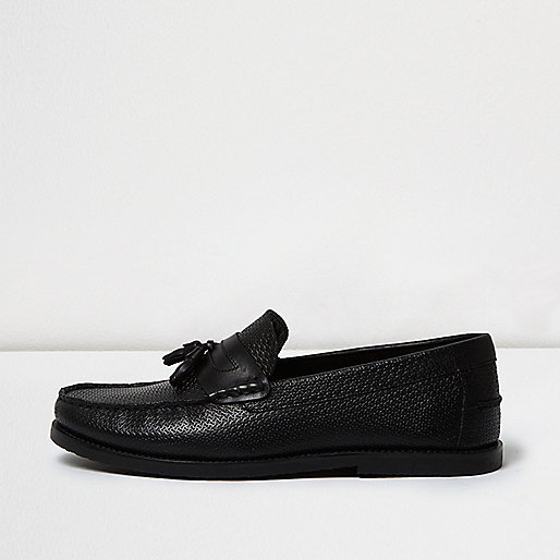 Black embossed leather tassel loafers