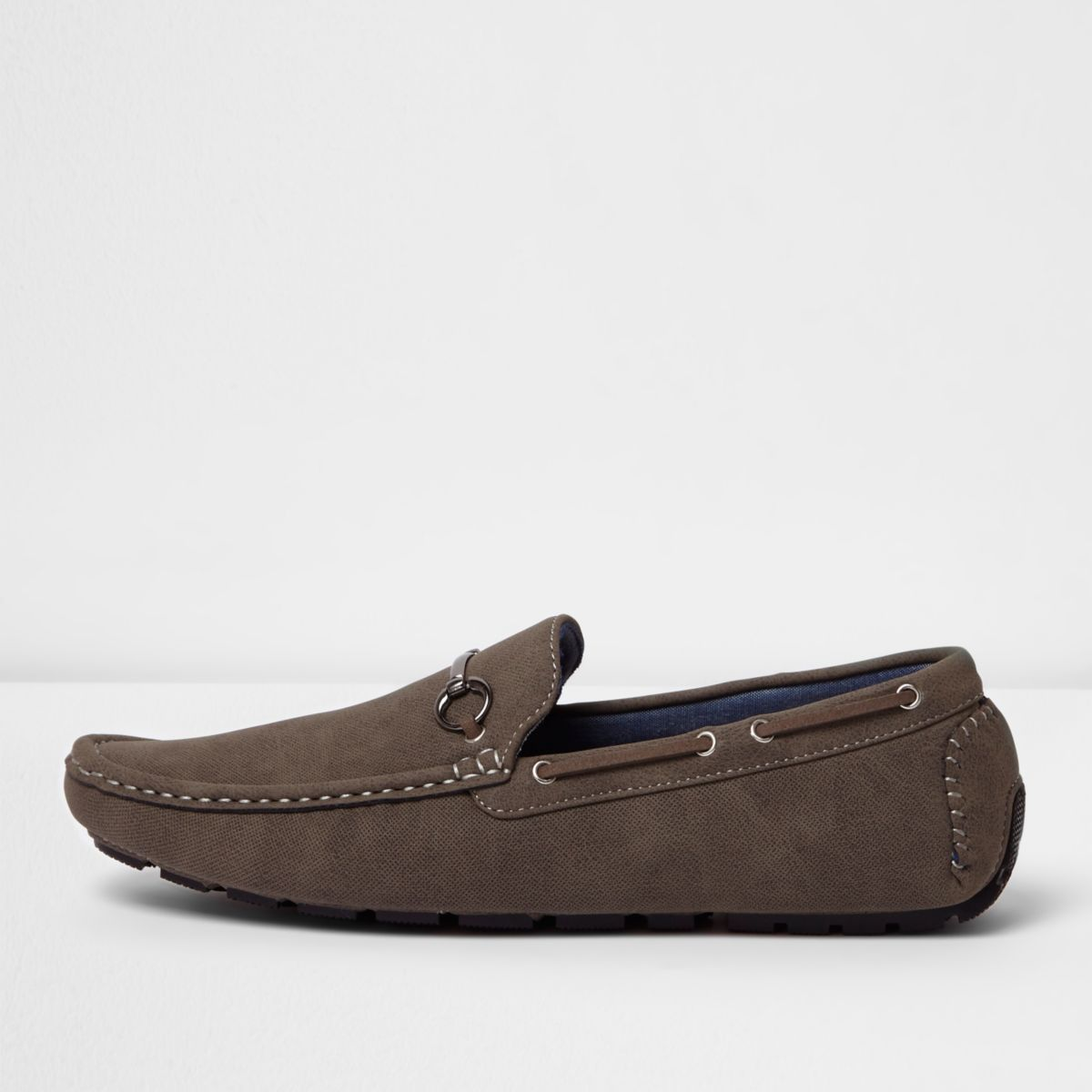 Grey grip sole snaffle loafers