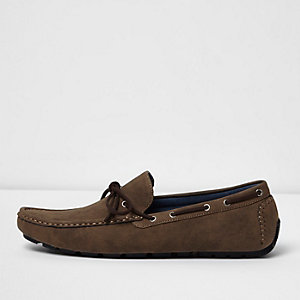 Dark brown grip sole lace up loafers
