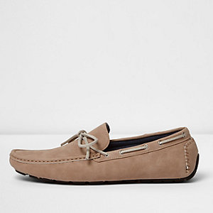 Blush pink grip sole lace up loafers
