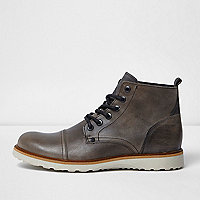 Light grey leather contrast sole wedge boots